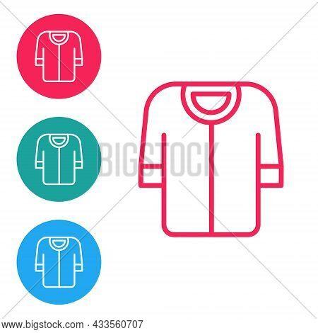Red Line Baseball T-shirt Icon Isolated On White Background. Baseball Jersey, Sport Uniform, Raglan