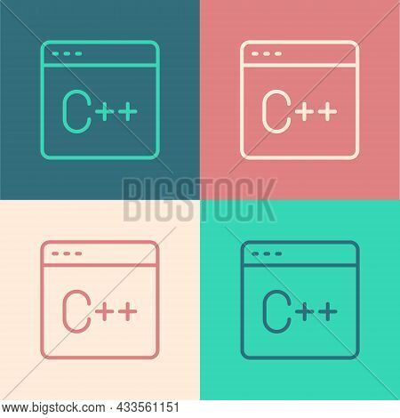 Pop Art Line Software, Web Developer Programming Code Icon Isolated On Color Background. Javascript