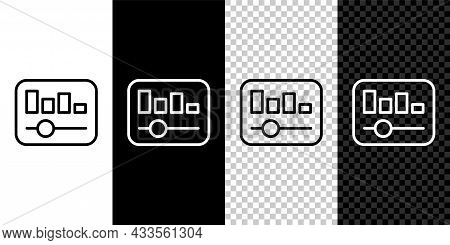 Set Line Music Equalizer Icon Isolated On Black And White, Transparent Background. Sound Wave. Audio