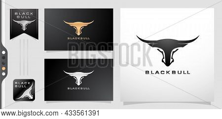 Illustration Of A Black Bull Or Longhorn. Applicable For Corporate Logo, Agency And Personal Brand.