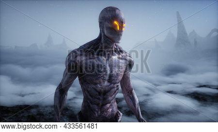 Alien On Alien Planet. Mars Surface. Ufo Concept. 3d Rendering.