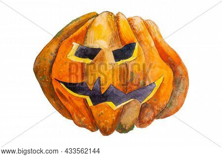Watercolor Halloween Pumpkin Illustration Isolated On White Background