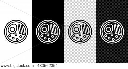 Set Line Ramen Soup Bowl With Noodles Icon Isolated On Black And White, Transparent Background. Bowl