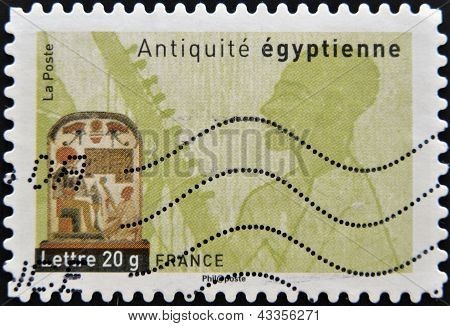 A stamp printed in France dedicated to ancient Egypt shows Egyptian funerary stela