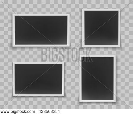 Shadow Photos Isolated. Printing Photo Retro Framing, Photography Set With White Borders, Photograph