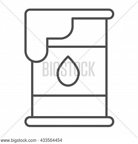 Oil Barrel, Cask And Drop Of Oil, Petrol Thin Line Icon, Oil Industry Concept, Fuel Vector Sign On W