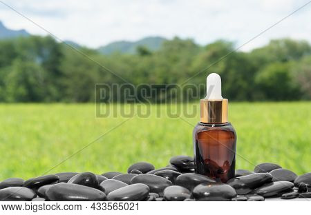 Brown Serum Oil Bottle Dropper Mock Up Or Essential Oil With Black Stone Agent Green Grass Field