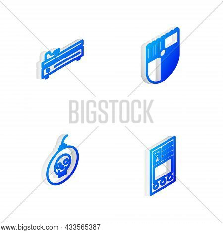 Set Isometric Line Shield For Game, Video Console, Bomb Ready To Explode And Create Account Screen I