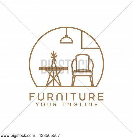 Furniture Logo Minimalist Room Interior Chairs And Tables. Interior Furniture Home Design Minimalist