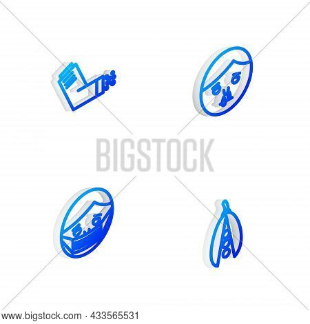 Set Isometric Line Runny Nose, Inhaler, Face In Protective Mask And Kidney Beans Icon. Vector