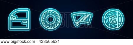 Set Line Car Door, Tire, Windscreen Wiper And Brake Disk With Caliper. Glowing Neon Icon. Vector