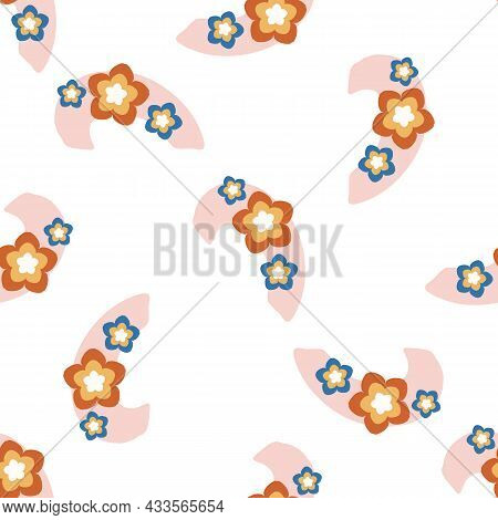 Abstract Playful Style Cut Out Flower Shape Pattern. Seamless Modern Floral Collage Style Design For