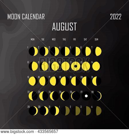 August 2022 Moon Calendar. Astrological Calendar Design. Planner. Place For Stickers. Month Cycle Pl