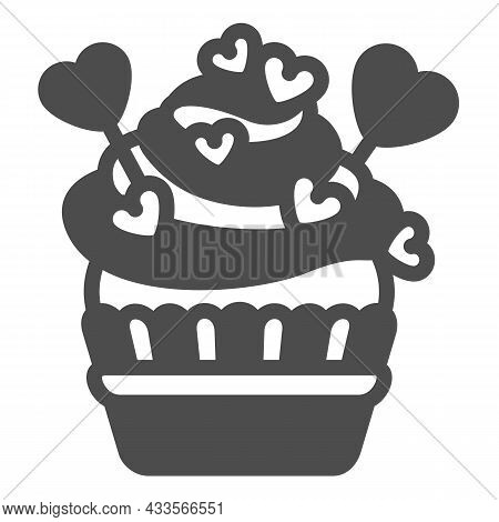 Cupcake With Frosting, Heart On Stick And Sprinkles Solid Icon, Pastry Concept, Muffin Vector Sign O