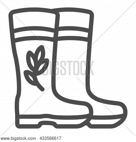 Rubber Boots For Garden With Flower And Leaf Line Icon, Gardening Concept, Rain Boots Vector Sign On