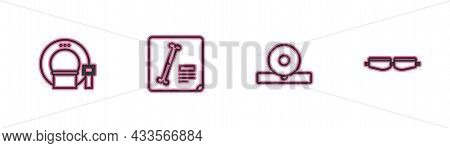 Set Line Tomography, Otolaryngological Head Reflector, X-ray Shots And Safety Goggle Glasses Icon. V