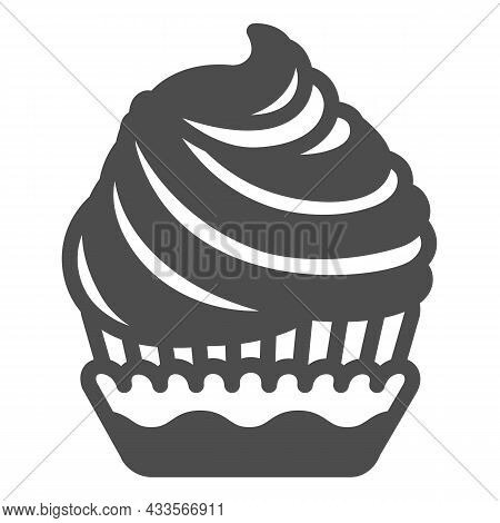 Cupcake With Cream Frosting Solid Icon, Pastry Concept, Muffin With Icing Vector Sign On White Backg