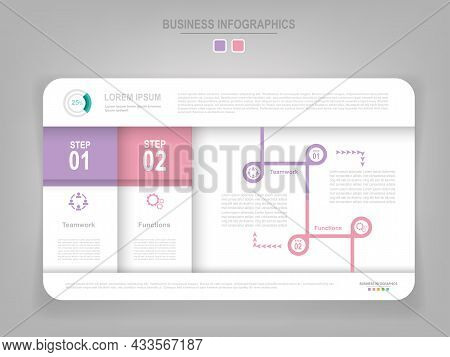 Infographic Template Vector Of Two Steps On Work Sheet, Designed For Tag Banner, Presentation, Templ