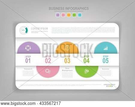 Infographic Template Of Three Parts On Work Sheet, Tag Banner, Flat Design Of Business Icon, Vector