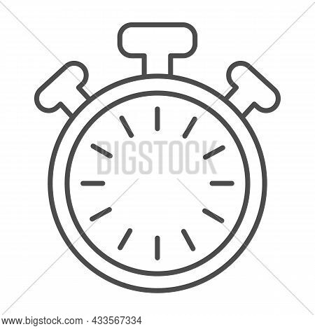 Stopwatch With Buttons And Dial Without Hands, Timer Thin Line Icon, Time Concept, Clock Vector Sign