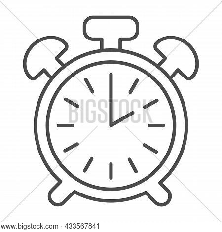 Vintage Alarm Clock With Button, 2 Pm, 2 Am Thin Line Icon, Time Concept, Timepiece Vector Sign On W