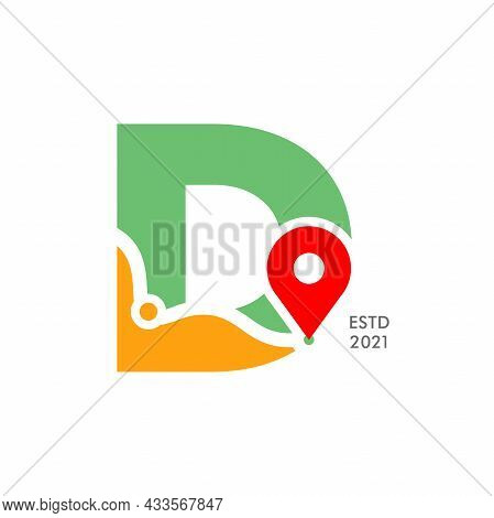 Simple And Modern Illustration Logo Design Initial D Pin Location.