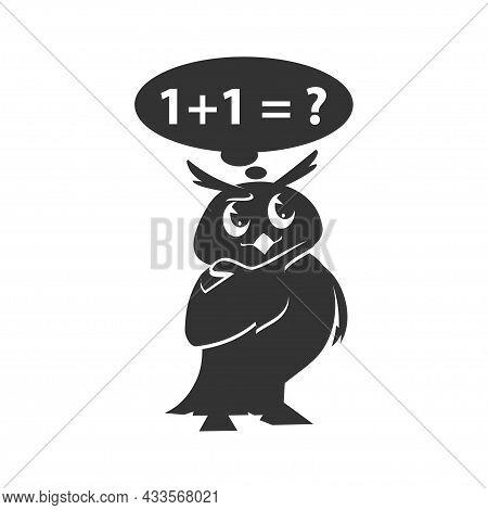 School Owls Template. Color Cute Birds Studying Mathematics In School. Teaching Education Cartoon Ve