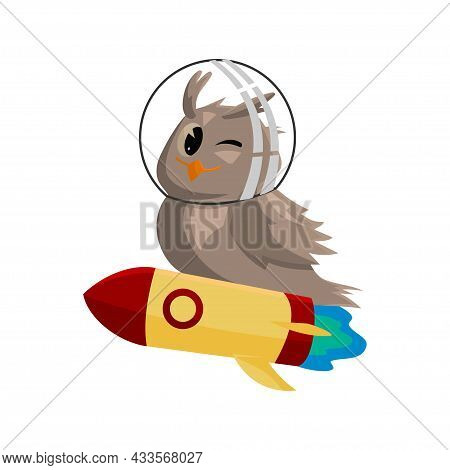 School Owls. Color Cute Birds Studying Astronomy In School. Teaching Education Cartoon Vector Charac