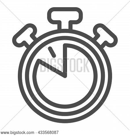 Stopwatch With Buttons, 50 Seconds, Timer, Chronometer Line Icon, Time Concept, Clock Vector Sign On