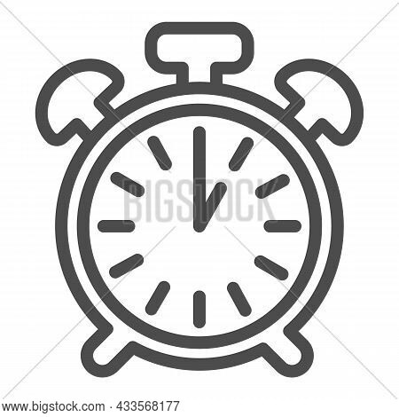 Vintage Alarm Clock With Button, 1 Pm, 1 Am Line Icon, Time Concept, Timepiece Vector Sign On White