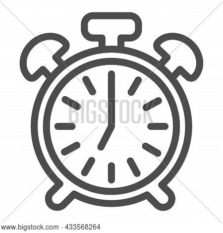 Vintage Alarm Clock With Button, 7 Pm, 7 Am Line Icon, Time Concept, Timepiece Vector Sign On White