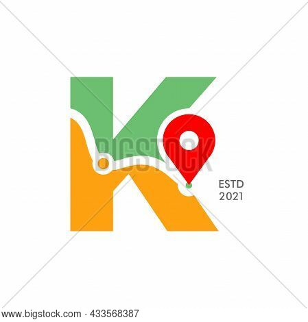 Simple And Modern Illustration Logo Design Initial K Pin Location.