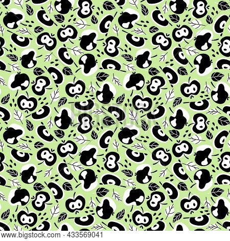 Black And White Apples Fruit And Leaves And Seeds On Light Green Seamless Pattern Vector. Crazy Styl