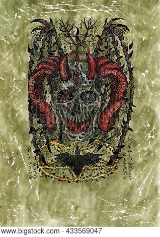 Grunge Watercolor Illustration Of Creepy Skull Of Devil Or Demon With Horns, Wings And Crow. Mystic