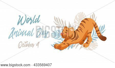 Vector Illustration Of A Cute Tiger, Tropical Leaves Palm Monstera. Animal Protection. Ecology. Inte