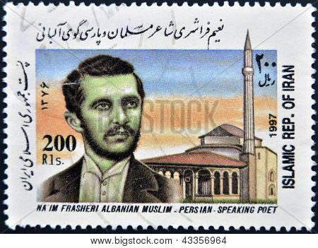 A stamp printed in Iran shows Na�im Frasheri albanian muslim - persian - speaking poet
