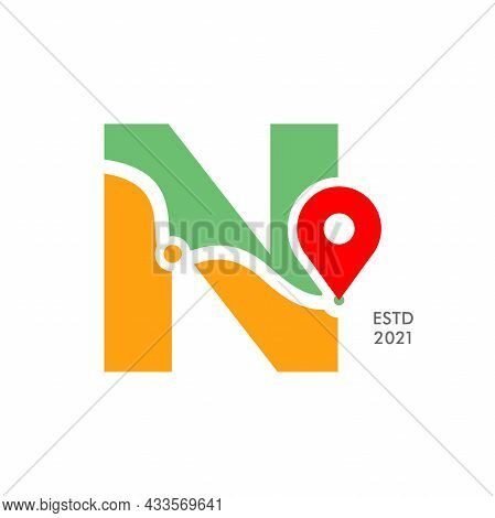 Simple And Modern Illustration Logo Design Initial N Pin Location.