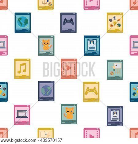 Seamless Vector Illustration Of Nft Categories Like Art, Music, Domain Names, Virtual Worlds, Tradin
