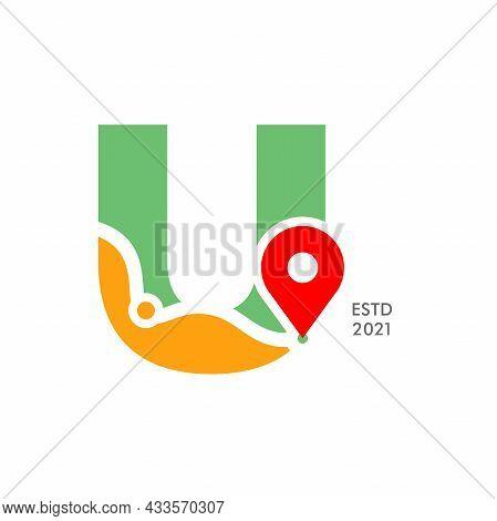 Simple And Modern Illustration Logo Design Initial U Pin Location.