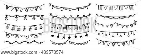 Party Garland Set With Flag, Bunting, Pennant. Hand Drawn Sketch Doodle Style Garland. Vector Illust
