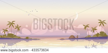 Tropical Island At Early Morning, Calm Sea And Palm Trees Under Pink Cloudy Sky With Waxing Crescent
