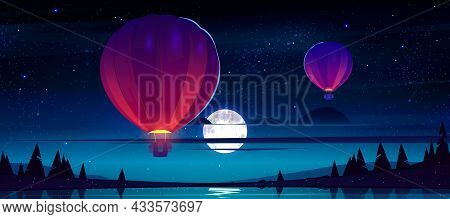 Air Balloons Flying At Night Starry Sky With Full Moon And Clouds Over Lake With Rocks And Conifers