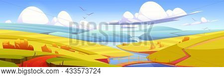 Autumn Landscape With Hay Bales On Agriculture Field, Road And Wooden Bridge Over River. Vector Cart