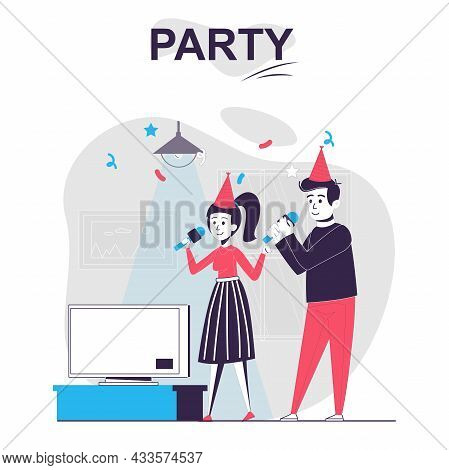 Party Isolated Cartoon Concept. Man And Woman Celebrate Holiday, Sing Karaoke And Have Fun, People S