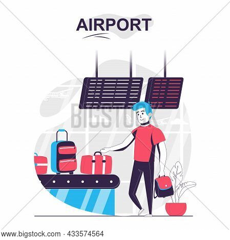 Airport Isolated Cartoon Concept. Man Takes His Luggage At Airport Baggage Claim Area, People Scene