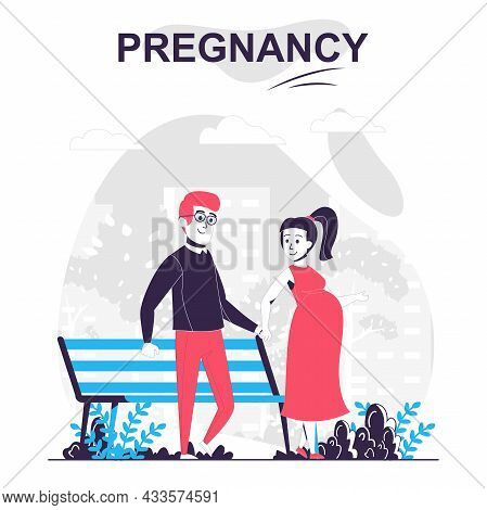 Pregnancy And Motherhood Isolated Cartoon Concept. Pregnant Wife With Husband Walk In Park, People S