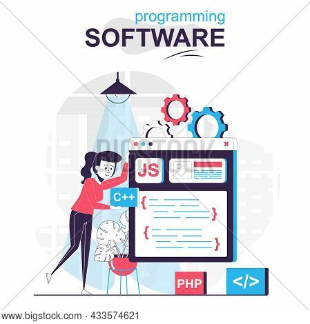 Programming Software Isolated Cartoon Concept. Programmer Works On Code, Programs And Tests, People