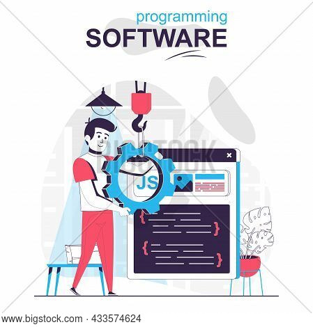 Programming Software Isolated Cartoon Concept. Programmer Configures Program, Writes Code, People Sc