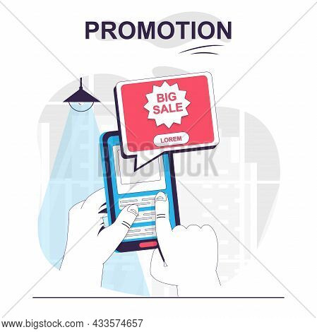 Promotion Isolated Cartoon Concept. User Sees Big Sale Advertising On Mobile App, Marketing People S