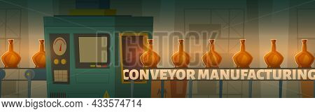 Conveyor Manufacturing Cartoon Banner, Factory Belt With Glass Bottles, Alcohol Production Line, Sma